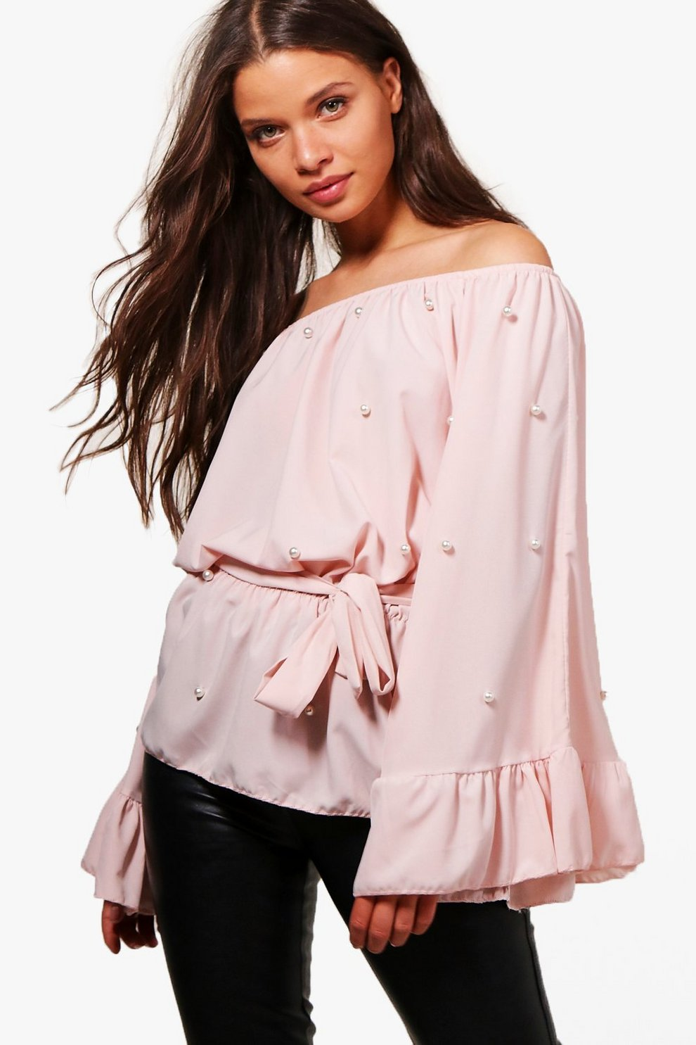 cd33b64e2ab Pearl Off The Shoulder Ruffle Blouse
