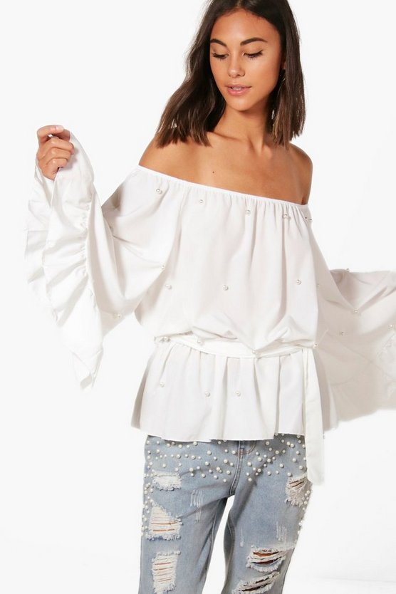 Pearl Off The Shoulder Ruffle Blouse