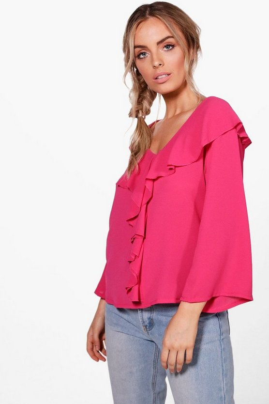 Holly Woven Ruffle Blouse