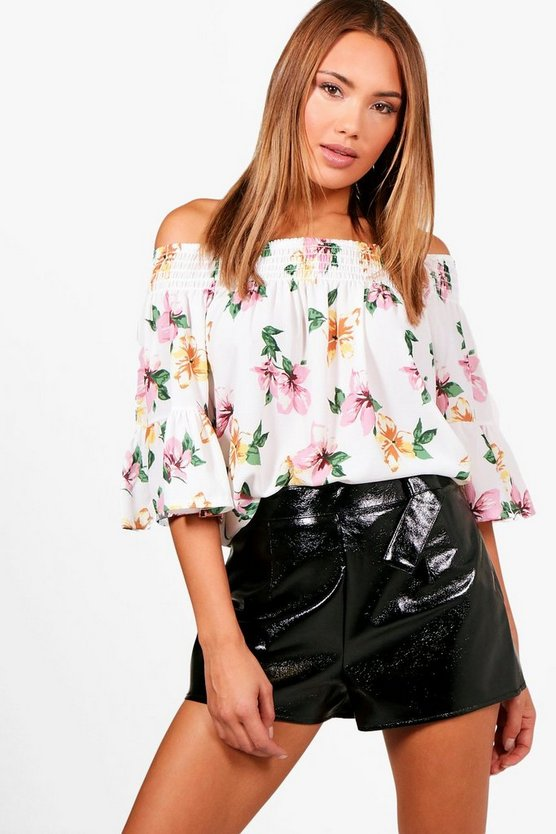 Isabel Off The Shoulder Sheered Floral Printed Top