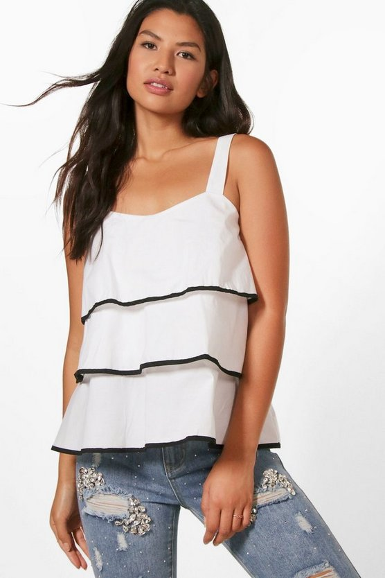 Heather Wovem Piped Frill Detail Cami