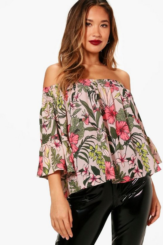 Womens Jessica Off The Shoulder Printed Ruffle Top