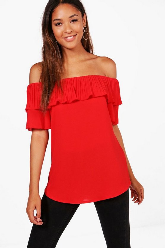 Maria Pleated Off The Shoulder Top