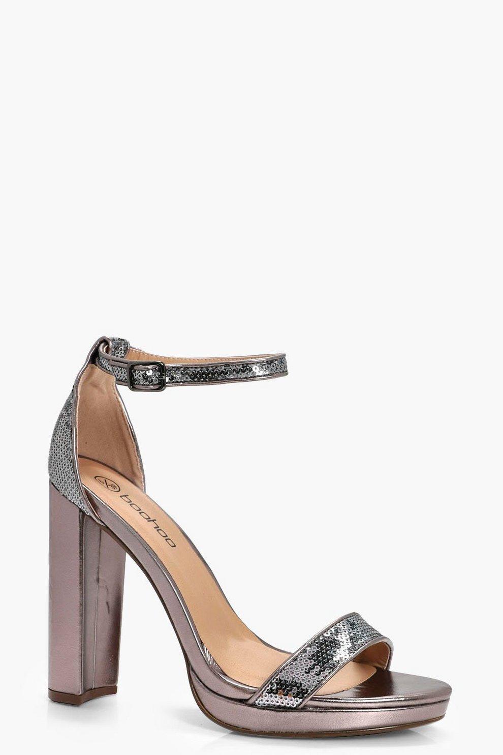 8c514a4895d Sequin Trim Block Platform Heels