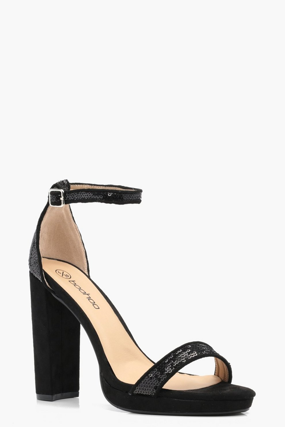 026ffabab22b Daisy Sequin Trim Block Platform Heels