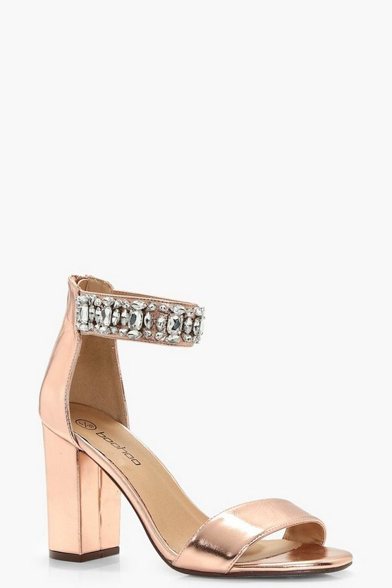 Wide Fit Embellished Ankle Band Heels