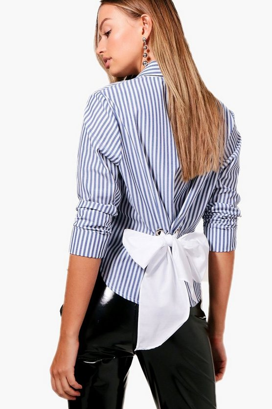 Eyelet Tie Back Stripe Shirt