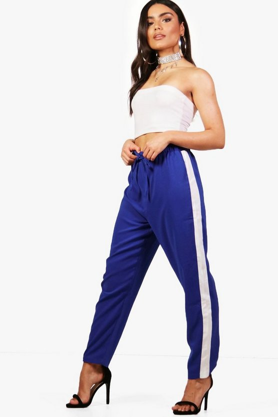 Womens Woven Contrast Panel Tapered Pants