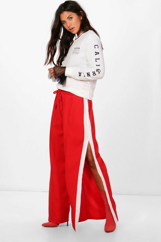 Woven Thigh Split Contrast Panel Trousers