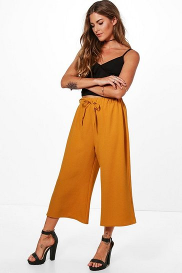 Womens Mustard Basic Tie Waist Woven Crepe Culottes