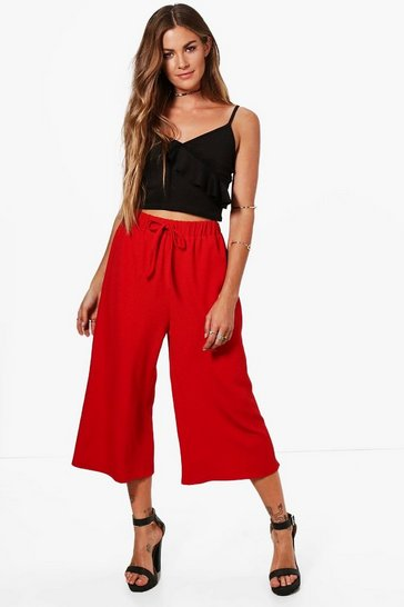 Womens Red Basic Tie Waist Woven Crepe Culottes