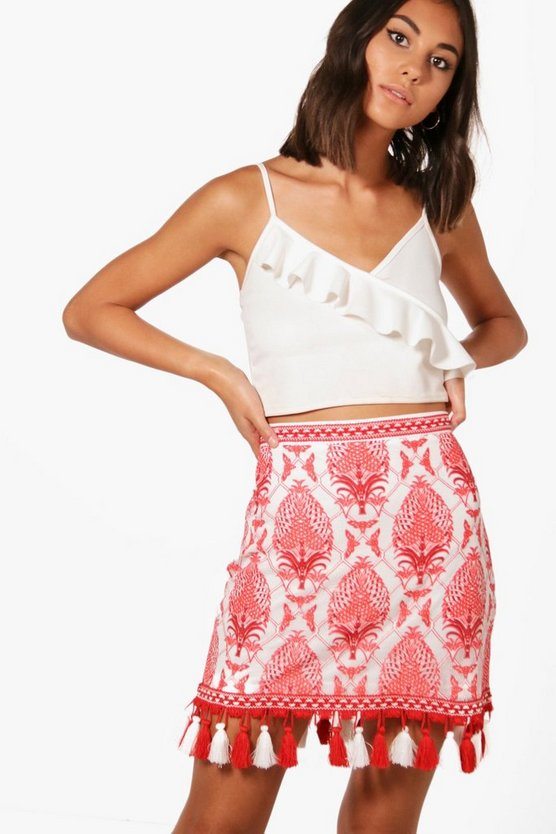 Printed Lace Pom Pom Mini Skirt