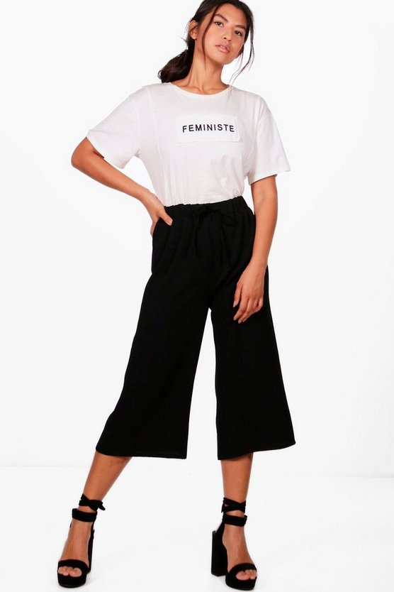 Womens Black Basic Tie Waist Woven Crepe Culottes