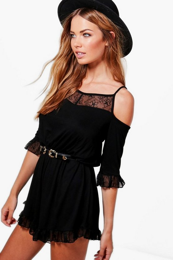 Lace Trim Cold Shoulder Playsuit