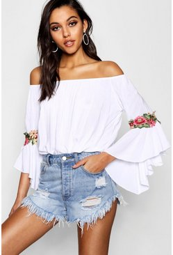 Womens White Floral Crochet Off The Shoulder Top