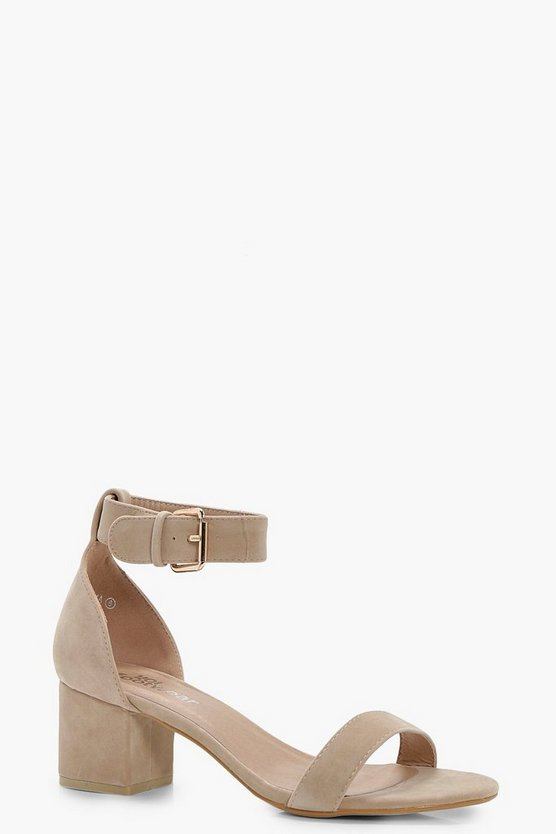 Womens Nude Ankle Band Low Block Heel 2 Parts