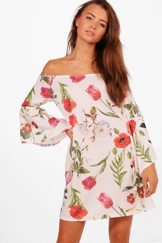 Alice Floral Flute Sleeve Off Shoulder Shift Dress