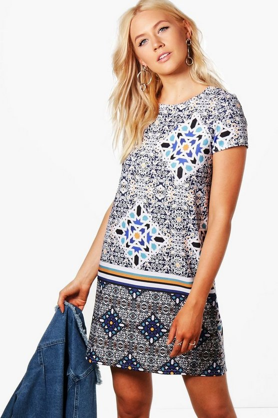 Niamh Paisley Geo Print Shift Dress