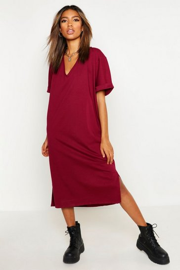 Womens Berry Oversized Midi T-Shirt Dress