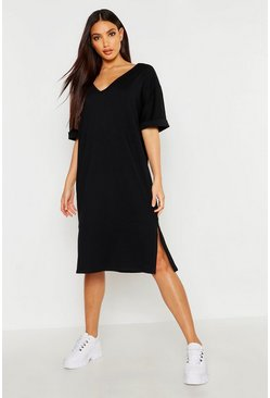 Black Oversized Midi T-Shirt Dress