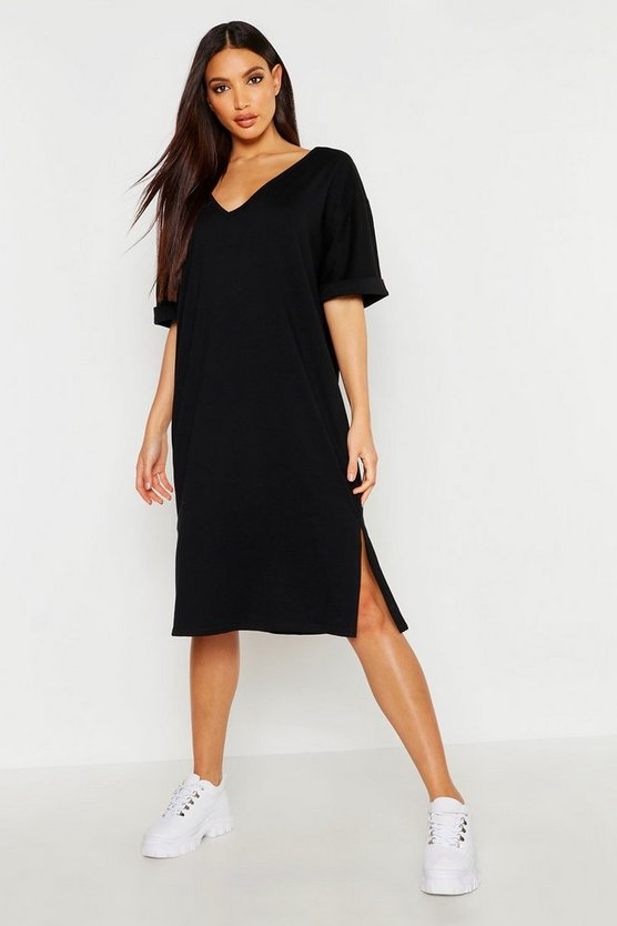 Womens Black Oversized Midi T-Shirt Dress
