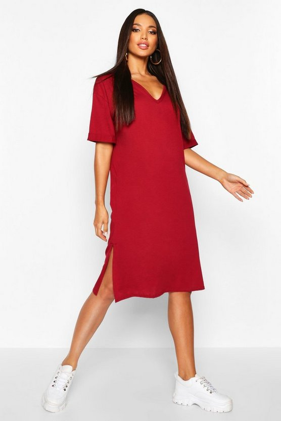 Womens Burgundy Oversized Midi T-Shirt Dress