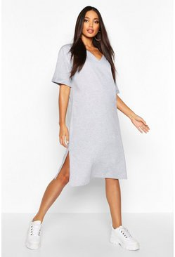 Oversized Midi T-Shirt Dress, Grey marl, Donna