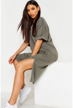 Womens Khaki Oversized Midi T-Shirt Dress