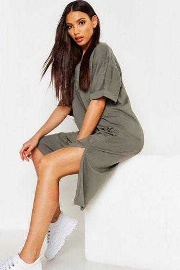 Khaki Oversized Midi T-Shirt Dress