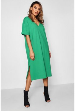 Womens Leaf green Oversized Midi T-Shirt Dress