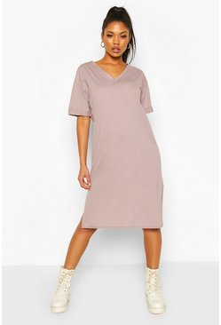 Mauve Oversized Midi T-Shirt Dress