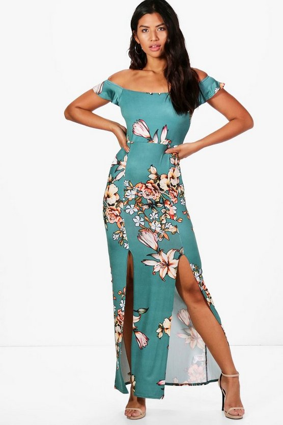 Kate Printed Bardot Maxi Dress