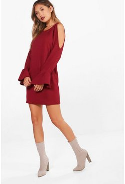 Womens Berry Cold Shoulder Flute Tie Sleeve Shift Dress