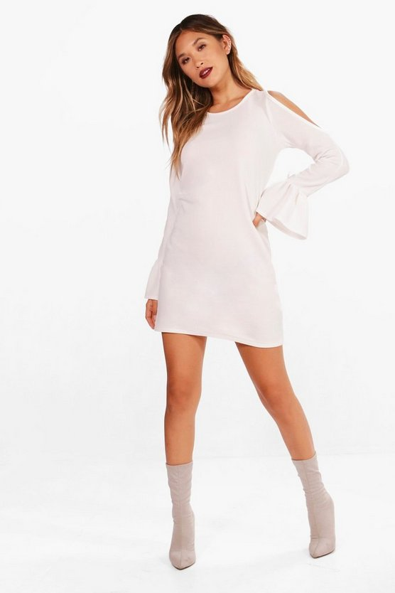 Cold Shoulder Flute Tie Sleeve Shift Dress