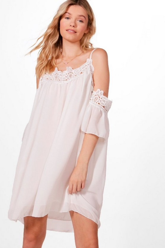 Layla Crochet Cold Shoulder Woven Dress