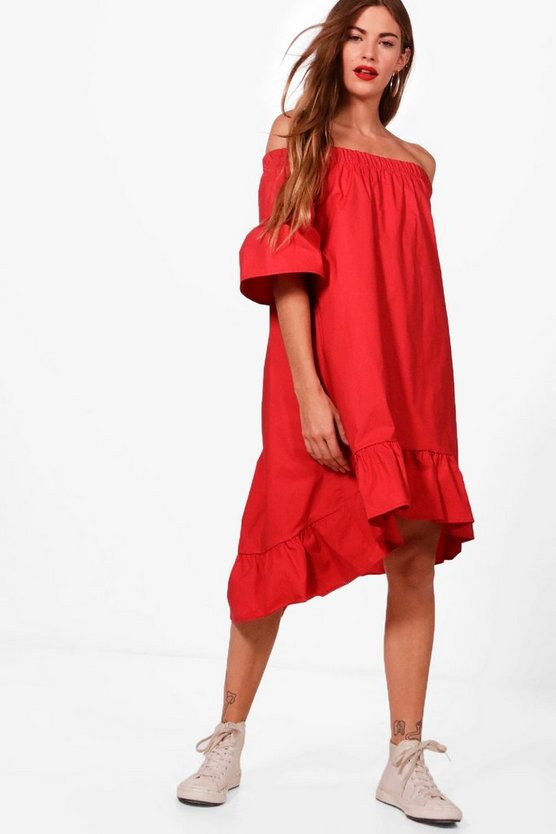 Woven Ruffle Hem Off Shoulder Dress