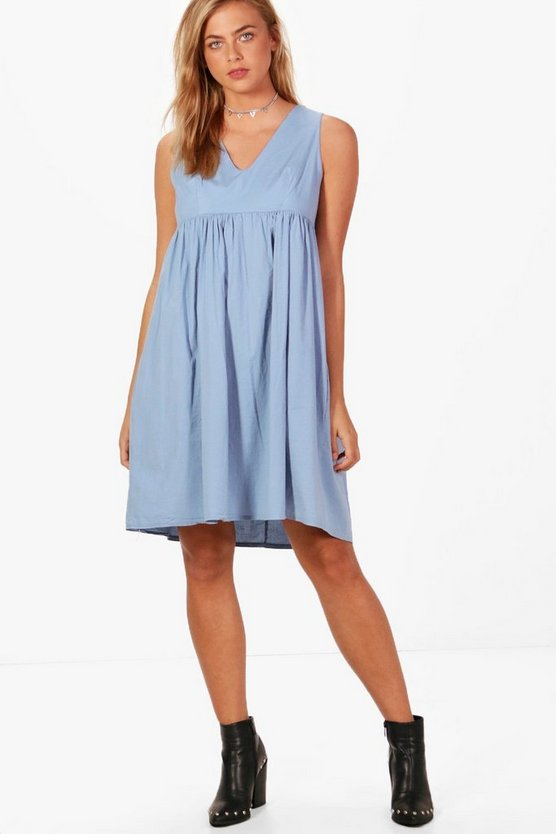 Oversized V Neck Smock Dress