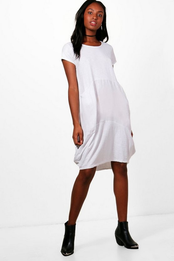 Ash Jersey/ Woven Mix Oversized Midi Dress