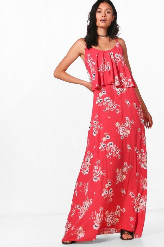 Sophia Frill Floral Printed Maxi Dress