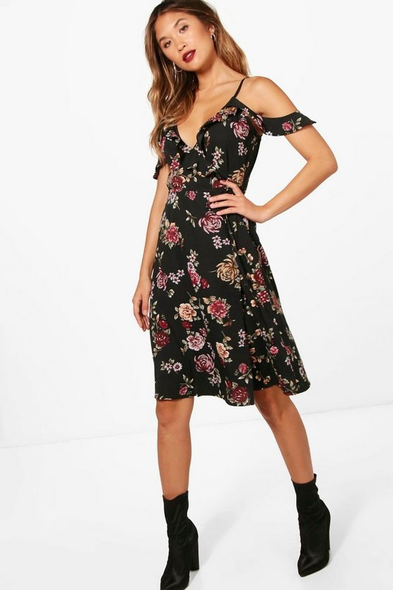Kady Ruffle Cold Shoulder Midi Dress