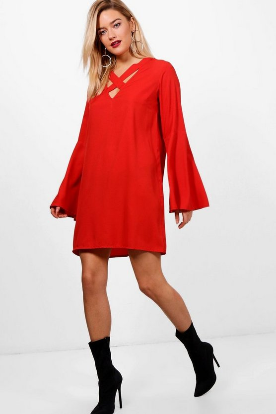 Cross Front Flute Sleeve Shift Dress