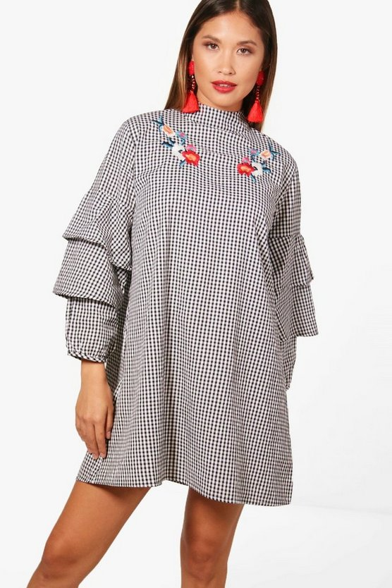 Frill Sleeve Embroidered Gingham Shift Dress