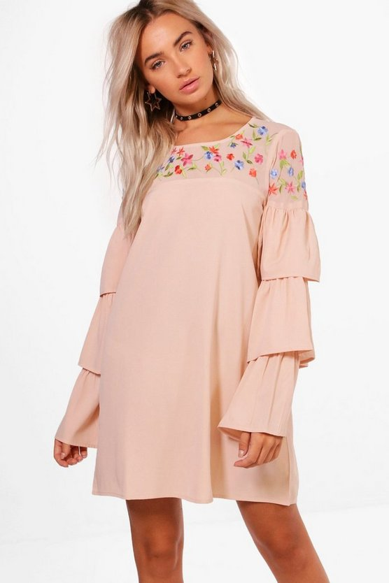 Boutique Embroidered Frill Sleeve Shift Dress