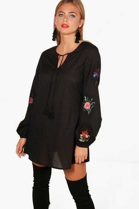 Embroidered Sleeve Shift Dress