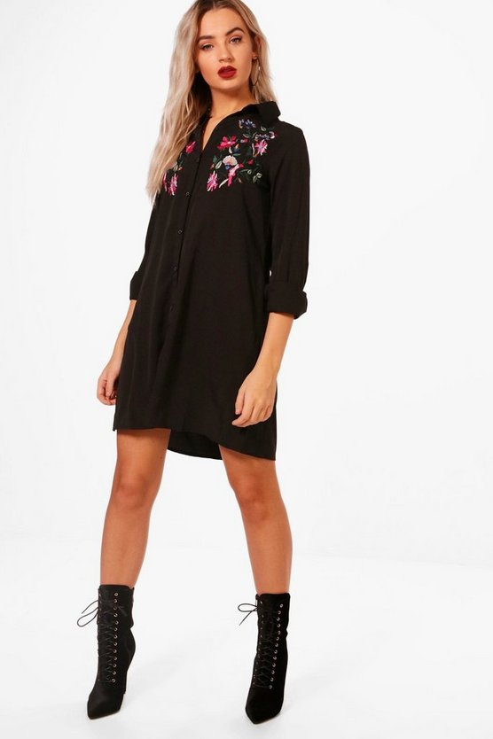 Womens Boutique Embroidered Shift Dress