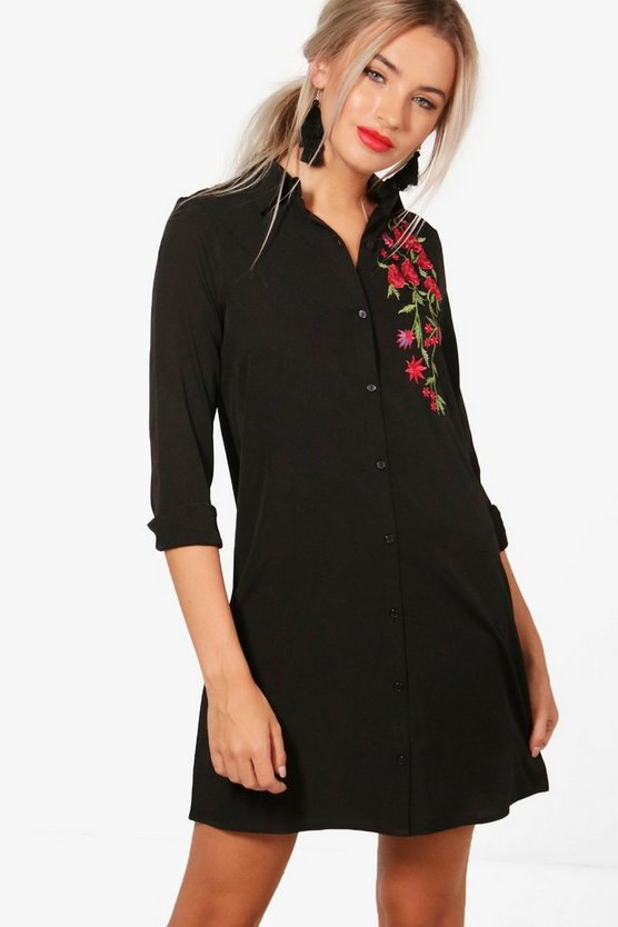 Boutique Embroidered Shift Dress
