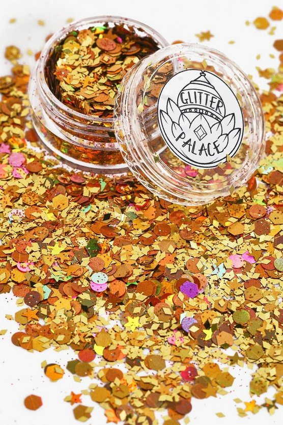 Womens Gold Glitter Palace Tiger Glitter Pot