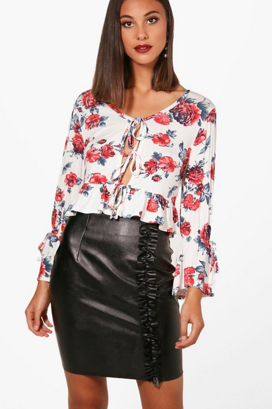 Rebecca Floral Print Tie Front Ruffle Crop