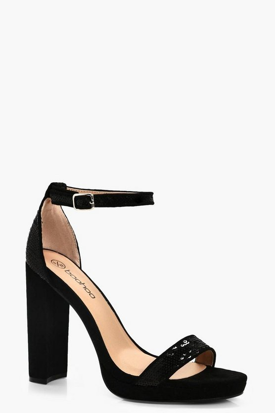 Beatrice Wide Fit Sequin Trim Platform Heels