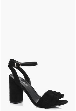 Womens Black Erin Frill Detail Block Heels